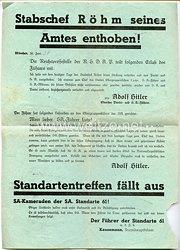 """SA-Standarte 61 - offizielles Informationsblatt vom 30. Juni 1934 """" Stabschef Röhm seines Amtes enthoben ! """""""