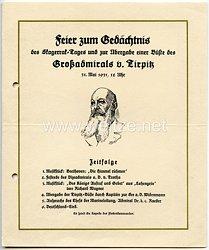 Feier zum Gedächtnis des Skagerrak-Tages und zur Übergabe einer Büste des Großadmirals v.Tirpitz am 31.5.1931 - Programm mit Einladung