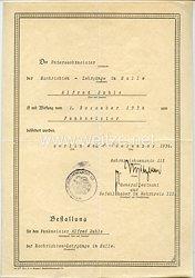 Attentat vom 20. Juli 1944- Originalunterschrift des späteren Ritterkreuzträgers Generalleutnant Erwin v. Witzleben