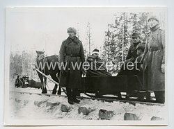 Waffen-SS Pressefoto, Schulter an Schulter mit den finnischen Verbündeten kämpfen hier Männer der Waffen-SS 16.12.1941