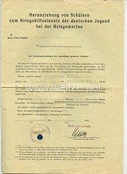 Heranziehung von Schülern zum Kriegshilfseinsatz der deutschen Jugend bei der Kriegsmarine - Aufnahmeformular als Marinehelfer