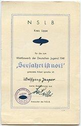 """NSDAP / NSLB Amt für Erzieher Kreis Lippe - Anerkennungsurkunde für geleistete Arbeit beim Wettbewerb der Deutschen Jugend 1941 """" Seefahrt ist not ! """""""