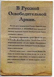 III. Reich - russisches Informationsblatt für Angehörige der Russischen Befreiungsarmee auch Wlassow-Armee genannt