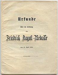Sachsen - Statuten über die Stiftung der Friedrich-August-Medaille