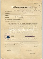 III. Reich - Entlassungsausweis für einen ukrainischen Kriegsgefangenenaus der deutschen Kriegsgefangenschaft