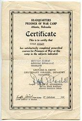 US-Kriegsgefangenlager Atlanta/Nebraska - Certificate für einen deutschen Kriegsgefangenen