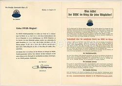 III. Reich - Der Deutsche Automobil-Club ( DDAC ) - Rundschreiben an die Mitglieder die an der DDAC-Reichskriegsopferfahrt am 20.4.1939 teilgenommen haben