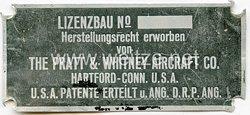 III. Reich Flugzeug - Typenschild - der US Firma Pratt & Whithney Aircraft CO. für den deutschen Lizenzbau