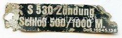Luftwaffe Typenschild - S530 Zündung Schloss 500/1000M