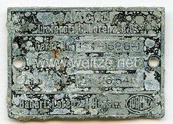 Luftwaffe Typenschild - der Firma Lorenz A.G