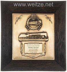 Deutsche Reichsbahn - große Geschenkplakette zum 25 jährigen Dienstjubiläum 1911 - 1936