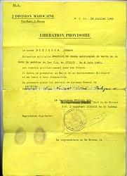 Frankreich Entlassungsschreiben eines Österreichers aus französischer Gefangenschaft.