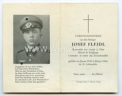 Wehrmacht Sterbebild für einen Grenadier, Gefallen im Januar 1945 in Brieg an der Oder