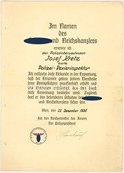 Polizeipräsident von Wien und SS-Oberführer Otto Steinhäusl - Originalunterschrift auf einer Ernennungsurkunde