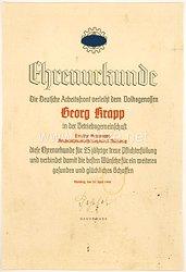 Die Deutsche Arbeitsfront ( DAF ) - Ehrenurkunde für 25 jährige Pflichterfüllung