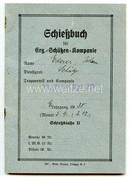 Schießbuch für Erg.-Schützen-Kompanie für einen Schützen der 18.(E)/Inf.Rgt.20 im E Lehrgang 1938