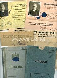 III. Reich - Dokumentengruppe eines Mannes in der Deutschen Luftfahrt-Industrie