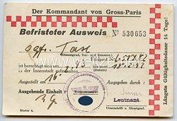 Luftwaffe - Der Kommandant von Gross-Paris ( Frankreich ) - Befristeter Ausweis zum Aufenthalt in der Innenstadt
