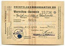 Oberfeldkommandantur 225 - Warschau-Ausweis für einen Hauptmann der Fp.-Nr. 40577 ( Zugwach-Kp.504 )
