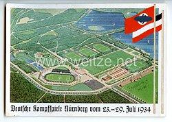 """III. Reich - farbige Propaganda-Postkarte - """" Deutsche Kampfspiele Nürnberg vom 23.-29. Juli 1934 """" - Gesamtansicht de Stadions"""