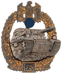"""Panzerkampfabzeichen in Silber 4. Stufe mit Einsatzzahl """"75"""""""