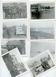 Kriegsmarine 8 Fotos einer KFZ Staffel mit Wintertarnung, Marine - Befehlshaber Ostland