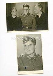 Wehrmacht 2 Fotos eines Schützen der Division Gross - Deutschland mit erbeuteter Feldbluse