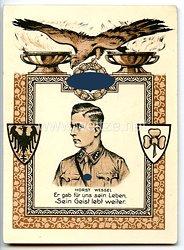 """III. Reich - farbige Propaganda-Postkarte - """" Horst Wessel - Er gab uns sein Leben, Sein Geist lebt weiter. """""""