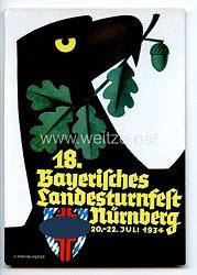 """III. Reich - farbige Propaganda-Postkarte - """" 18. Bayerisches Landesturnfest Nürnberg 20.-22. Juli 1934 """""""