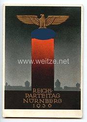 "III. Reich - farbige Propaganda-Postkarte - "" Reichsparteitag Nürnberg 1936 """