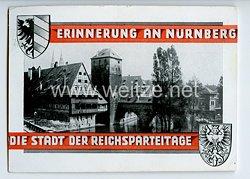 """III. Reich - farbige Propaganda-Postkarte - """" Erinnerung an Nürnberg die Stadt der Reichsparteitage - Partie beim Henkersteg """""""