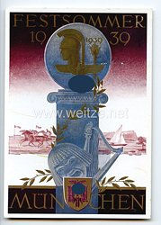 "III. Reich - farbige Propaganda-Postkarte - "" Festsommer 1939 München """