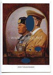 """III. Reich - farbige Propaganda-Postkarte - """" Adolf Hitler und Benito Mussolini - Zwei Volksführer """""""