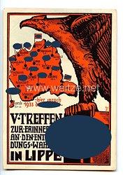 """III. Reich - farbige Propaganda-Postkarte - """" V. Treffen zur Erinnerung an den Entscheidungs-Wahlsieg in Lippe - hier sprach 1933 der Führer """""""