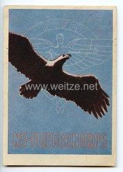 """NSFK - farbige Propaganda-Postkarte - """" NS-Fliegerkorps - Deutschland für immer stärkste Luftmacht der Welt ! Diese Forderung erfüllt das NS-Fliegerkorps durch die Ausbildung des fliegerischen Nachwuchses. """""""