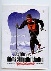 """III. Reich - farbige Propaganda-Postkarte - """" Deutsche Kriegs-Skimeisterschaften 23.-26. Jan. 1941 Spindelmühle Sudetenland """""""