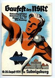 """III. Reich - farbige Propaganda-Postkarte - """" Gaufest des NSRL ( Nationalsozialistischer Reichsbund für Leibesübungen Gau XV Württemberg ) 18.-20. August 1939 in Ludwigsburg """""""