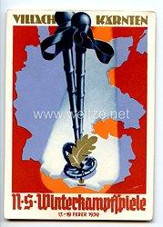 "III. Reich - farbige Propaganda-Postkarte - "" NS-Winterkampfspiele 17.-19. Feber 1939 Villach Kärnten """