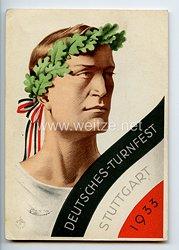 """III. Reich - farbige Propaganda-Postkarte - """" Deutsches-Turnfest Stuttgart 1933 """""""