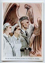 """Deutsches Rotes Kreuz ( DRK ) - farbige Propaganda-Postkarte - """" Für das Deutsche Rote Kreuz gezeichnet von Professor H.Schweitzer """""""