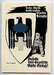 """III. Reich - Propaganda-Postkarte - """" Dieser Schild deckt unsere wunden Kämpfer - Stärkt das Deutsche Rote Kreuz ! """""""