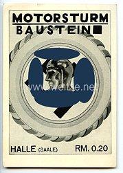 "SA - Propaganda-Postkarte - "" Motorsturm Baustein Halle ( Saale ) RM 0.20 - Sturmlied der M.S.A. Halle 8/36 """