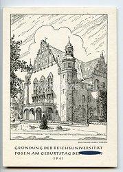 """III. Reich - Propaganda-Postkarte - """" Gründung der Reichsuniversität Posen am Geburtstag des Führers 1941 - Festliche Eröffnung am 27.4.1941 """""""
