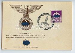 """III. Reich / SA - Propaganda-Postkarte - """" Gedenkkarte zum Wehrkampftag am 20.9.1942 in Neu-Ulm """""""