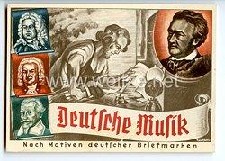 """III. Reich - farbige Propaganda-Postkarte - """" Olympia-Postwertzeichen- Ausstellung Dresden 1.-16. August 1936 - Deutsche Musik """""""