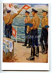 "SA - farbige Propaganda-Postkarte - "" Deutscher, erwirb das SA-Sportabzeichen ! - Die Marine-SA übt """