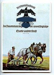 """III. Reich - farbige Propaganda-Postkarte - """" Reichsnährstand - Blut und Boden - Im Bauerntum liegt die unversiegliche Quelle unserer Kraft """""""