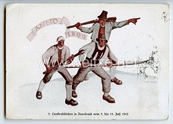 """III. Reich - farbige Propaganda-Postkarte - """" 5. Landesschiessen Innsbruck vom 5. bis 13. Juli 1942 - Anno 1809 """""""