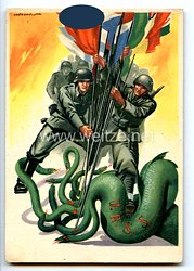 """III. Reich / Italien - farbige Propaganda-Postkarte - """" Deutschland und Italien gegen die UdSSR """""""