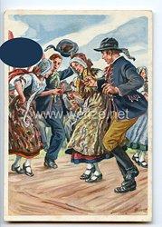 """III. Reich - farbige Propaganda-Postkarte - """" Deutsches Turn- und Sportfest Breslau 1938 - Schlesische Trachtengruppe """""""